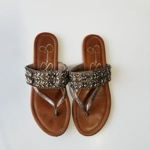 Silver Beaded Sandals
